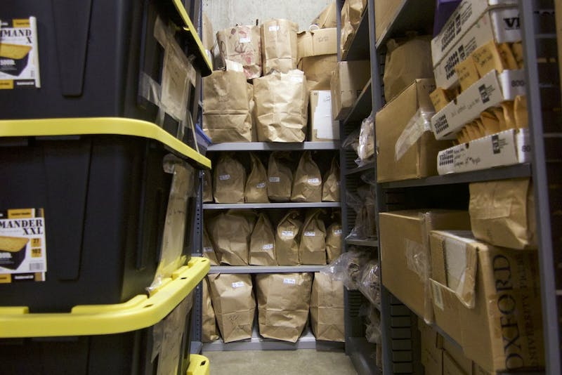 Biomass specimens sit in storage in the Ecology Building basement on Thursday, Mar. 1. Older specimens are routinely discarded when room becomes unavailable.