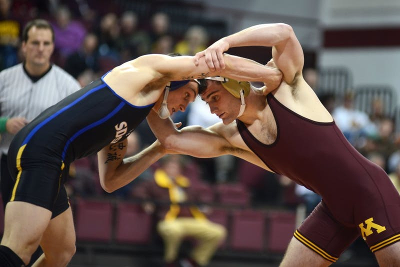 Gophers wrestler Jake Short competes in the wrestling team's home opener at the Sports Pavilion on Nov. 19, 2016.
