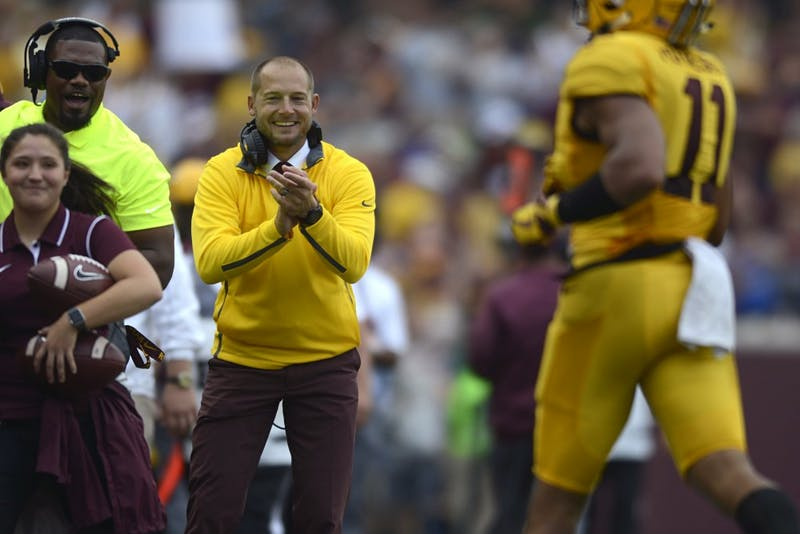 Head coach P.J. Fleck cheers on players after the Gophers scored a touchdown on Saturday, Sept. 16 at TCF Bank Stadium in Minneapolis.