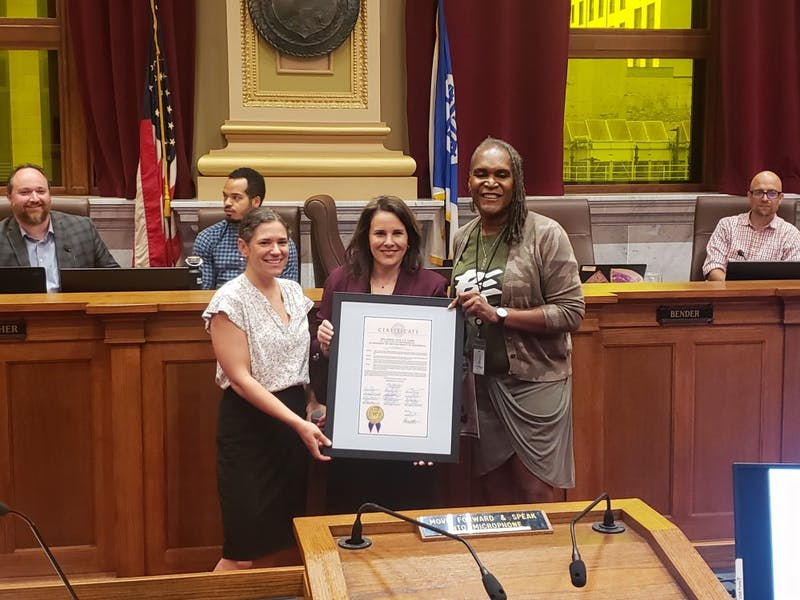University of Minnesota President Joan Gabel poses for a photo with City Council President Lisa Bender and City Council Vice President Andrea Jenkins at City Hall on Wednesday, July 24.