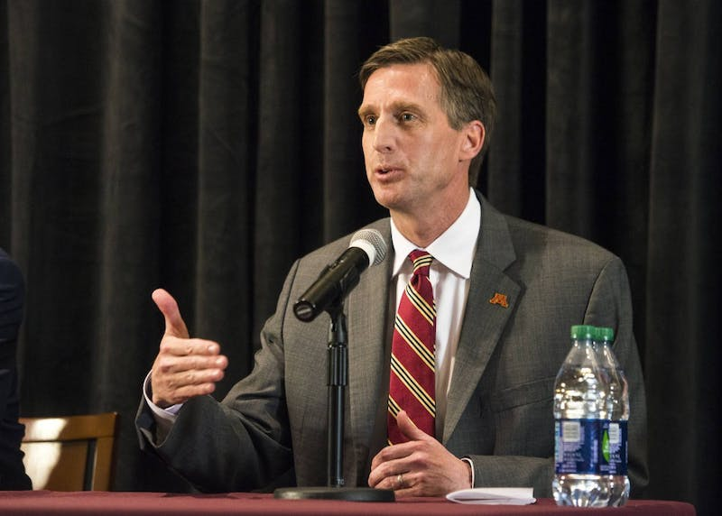 Mark Coyle, the newly named Gopher Athletics Director answers the media's questions during a press conference held at TCF Bank Stadium on Wednesday.
