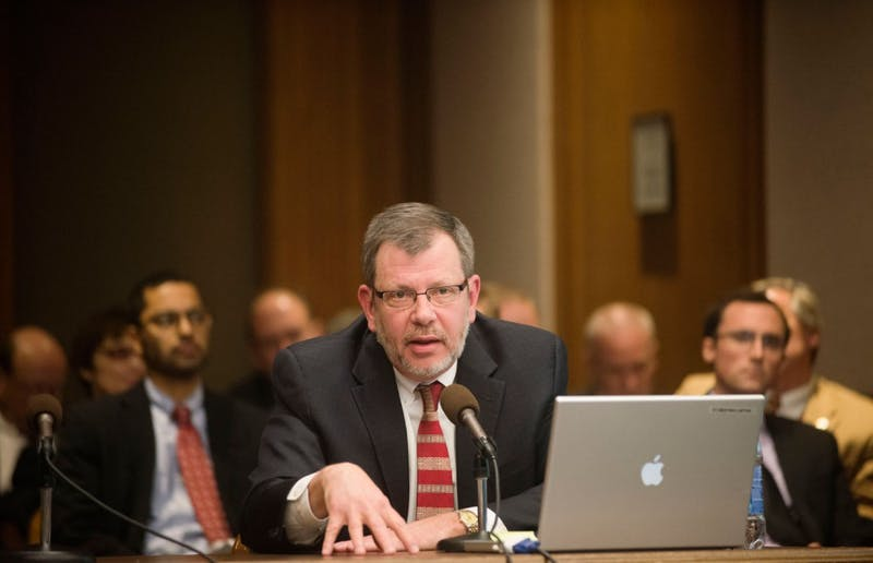 University President Eric Kaler presents new operational efficiency data during a meeting of the Senate Committee on Higher Education and Workforce Development on Tuesday, March 12, 2013, at the Minnesota state Capitol.