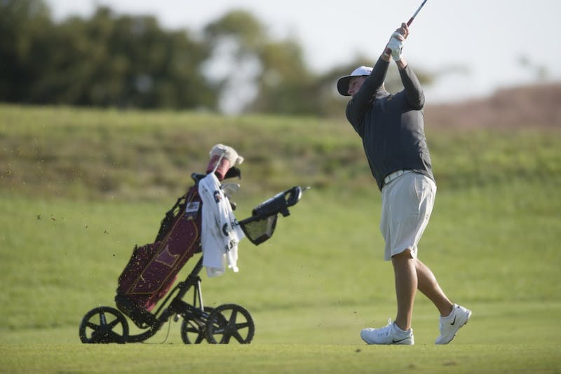Sophomore Evan Long plays during the Gopher Invitational on Sunday, Sept. 9 at Windsong Farm Golf Club in Maple Plain, Minnesota.