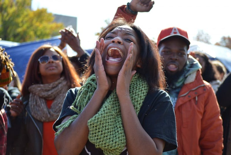 Following months of student protest and controversies at the University of Missouri, its system president resigned Monday morning. Soon after the announcement, a crowd of more than 500 rallied at the school's Carnahan Quad, where students, faculty and other demonstrators chanted in celebration of their movement's success.