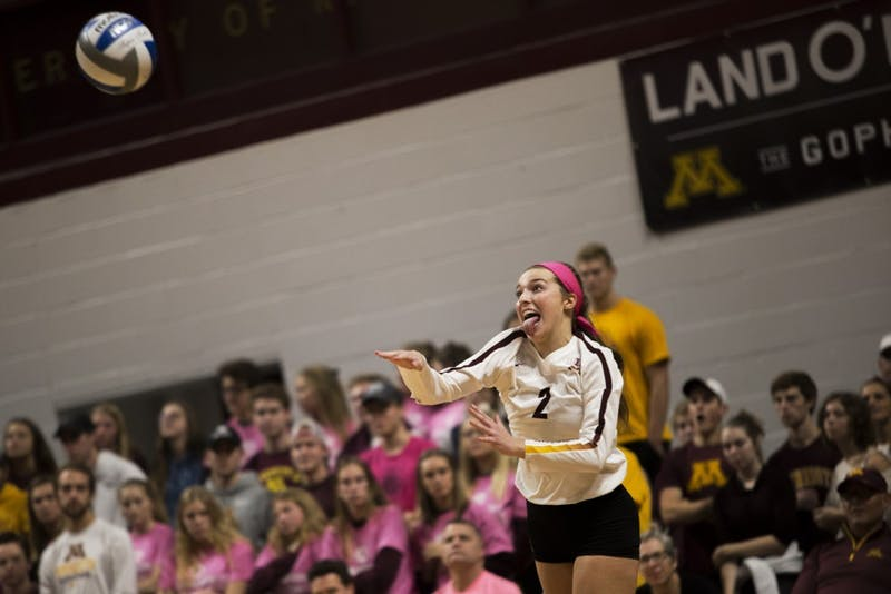 Lauren Barnes serves during the game against the Northwestern Wildcats on Saturday, Oct. 13, 2018. The Gophers beat Northwestern in all three sets.