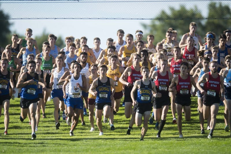 The Gophers men's cross country team merges with the field at the beginning of the 2019 Roy Griak Invitational at the Les Bolstad Golf Course on Saturday, Sept. 28, 2019. The men's team placed 7th in the Division 1 race.