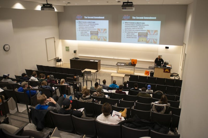 Suzanne Sanglewicz, spokeswoman for the National Rifle Association, spoke to students at Tate Hall on Tuesday, Feb. 19 about the gun rights organization. The event was hosted by the group Collegians for a Constructive Tomorrow.