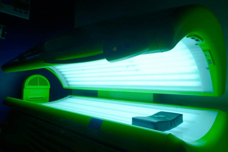 A tanning bed sits available for residents to use at FloCo Fusion Apartments on Monday, June 15. Many luxury apartments near the U offer tanning as a free amenity for their residents despite CDC studies that report an increase in Melanoma cases in recent years.
