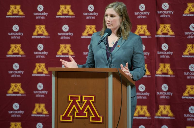 New Gophers women's basketball head coach Lindsay Whalen speaks to the media during a press conference on her new position on Friday, April 13. Whalen, a Gophers alumna, replaced Marlene Stollings as head coach.