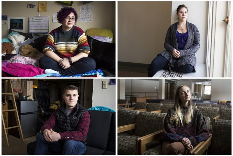 Clockwise from top left, University students Sammy Miller, Ravyn Braun, Jordan Pinneke and Teddy Skillings sit posed in respective locations on campus. Each having their own unique and varied experiences, these individuals are no strangers to the very real obstacles and challenges associated with mental illness.