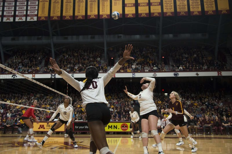 Outside Hitter Adanna Rollins prepares to jump to spike the ball at the Maturi Pavilion on Wednesday, Oct. 30.