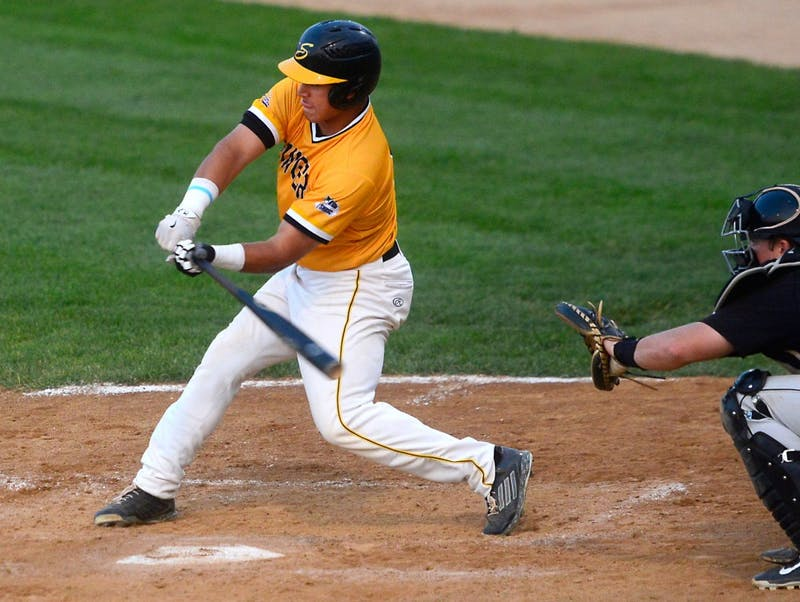 Eddie Estrada bats for the Northwoods League's Willmar Stingers in a game against the Rochester Honkers at the Bill Taunton Stadium in Willmar, Minn., on July 9, 2015. Estrada will be entering his first season with the Gophers this fall.
