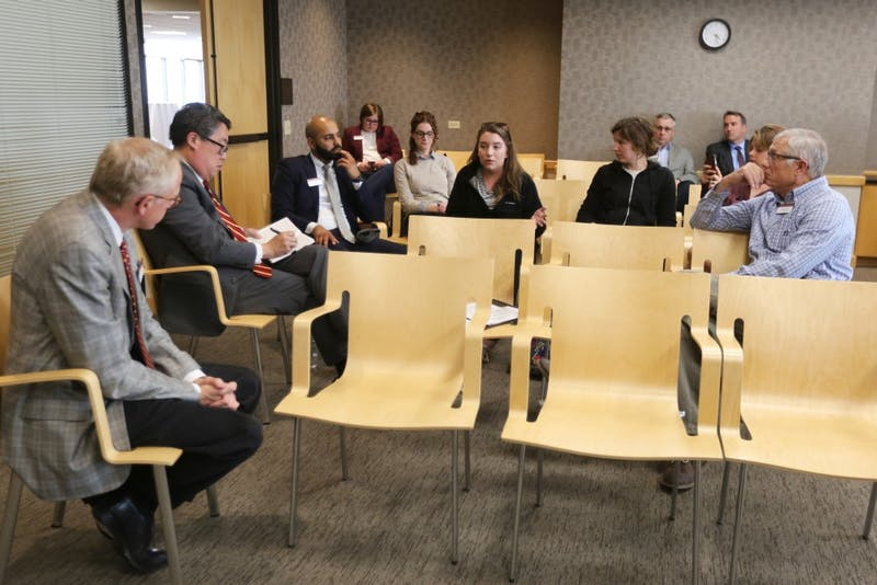 Grace Peterson, a member of 15 for Student Workers, discusses her experience with a campus job on Monday, May 21, 2018 at McNamara Alumni Center. The Board of Regents responded to her questions about raising the minimum wage at the university to $15 an hour.