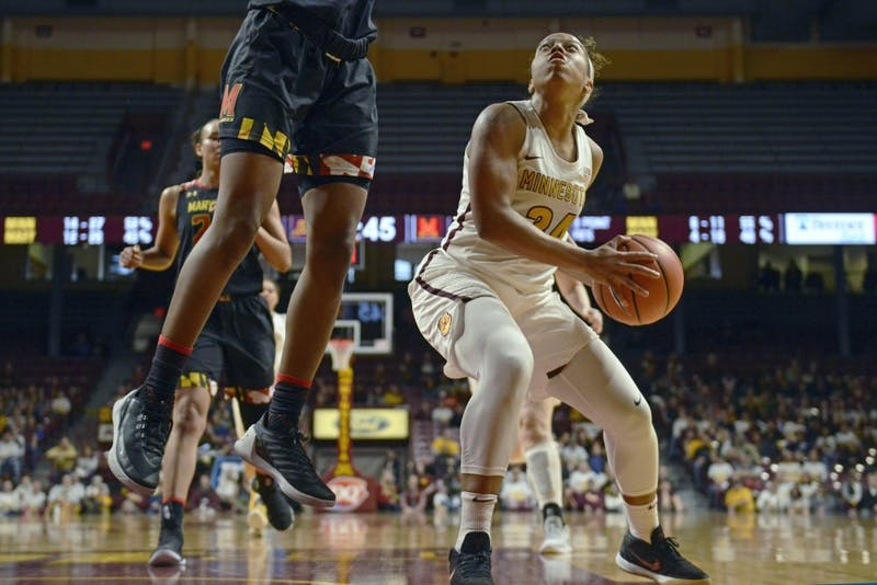 Guard Gadiva Hubbard eyes the hoop during the game against Maryland at Williams Arena on Sunday, Feb. 18. The Gophers won 93-74.