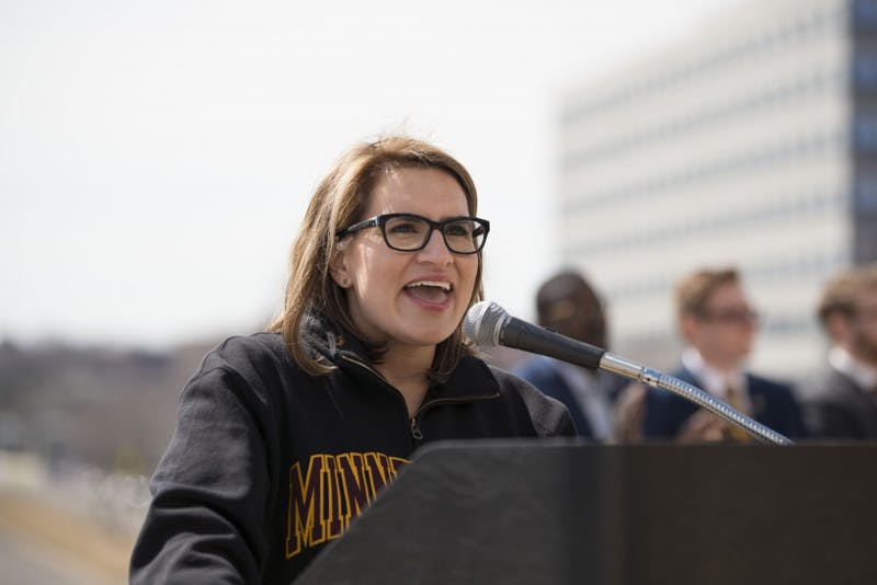 Lt. Gov. Peggy Flanagan, a University graduate, speaks to students at the Minnesota State Capitol on Wednesday, April 3 as a part of Support the U Day. Flanagan urged students to let the legislature know how much the University means to them.