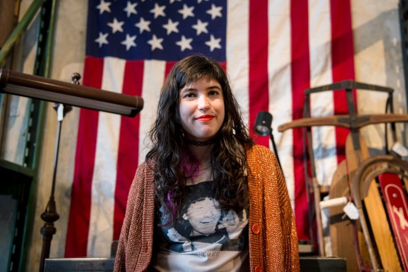 Monica LaPlante poses for portraits at findfurnish in NE Minneapolis on Tuesday. LaPlante is one of the musicians playing at Camaraderie Records' A Very Murray Christmas, a Christmas show dedicated to actor Bill Murray. The show is taking place at the Turf Club on Wednesday, Dec. 16.