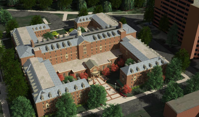 An ariel shot of the regent-approved $104.5 million renovation of Pioneer Hall.