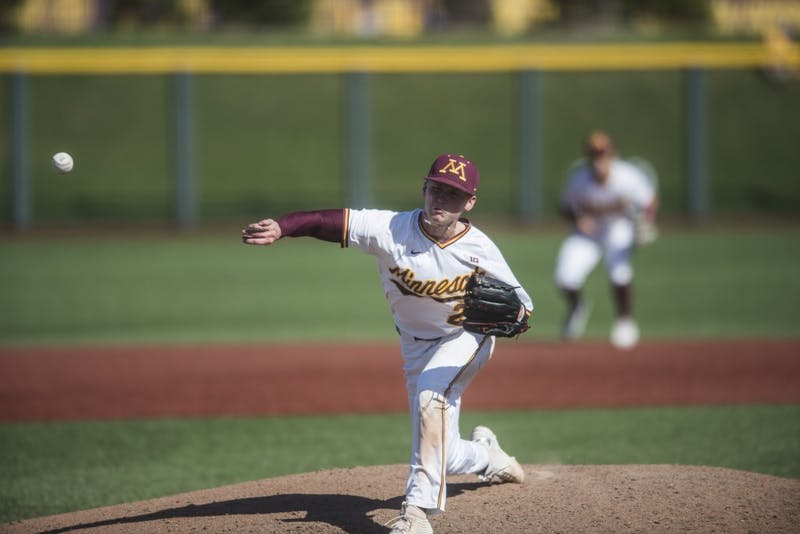 5Sophomore Max Meyer pitches the ball on Saturday, May 4 at Siebert Field. The Gophers beat the Ohio State Buckeyes 5-4 in the bottom of the 18th inning.