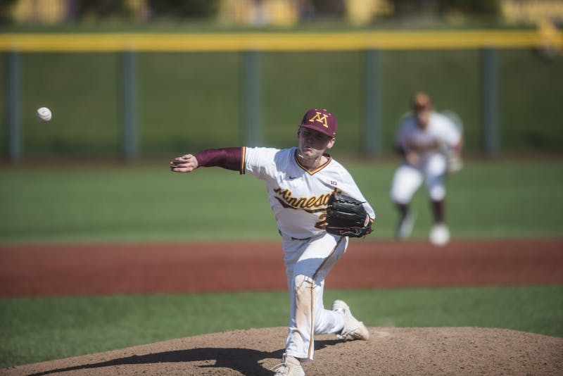 5Sophomore Max Meyer pitches the ball on Saturday, May 4, 2019 at Siebert Field. The Gophers beat the Ohio State Buckeyes 5-4 in the bottom of the 18th inning.