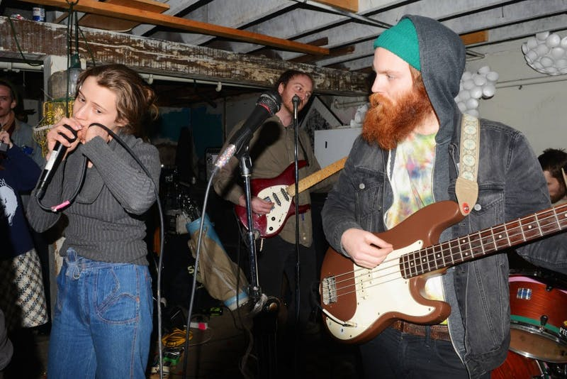 Miami Dolphins members Beth Bambery, Patrick Larkin and Ronnie Lee play a house show in a Minneapolis basement on Saturday. The band will play a show at the Triple Rock Social Club on Wednesday, March 4.