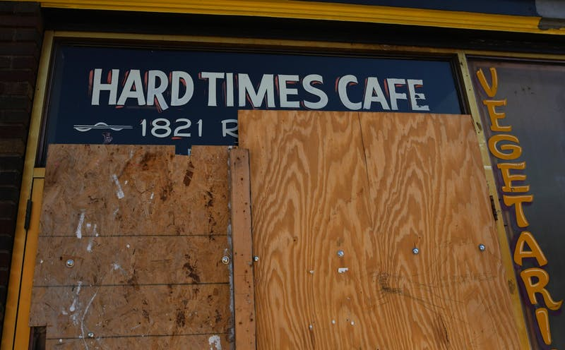 Hard Times Cafe boarded up in the Cedar-Riverside neighborhood on Thursday, May 28. (Andy Kosier / Minnesota Daily)