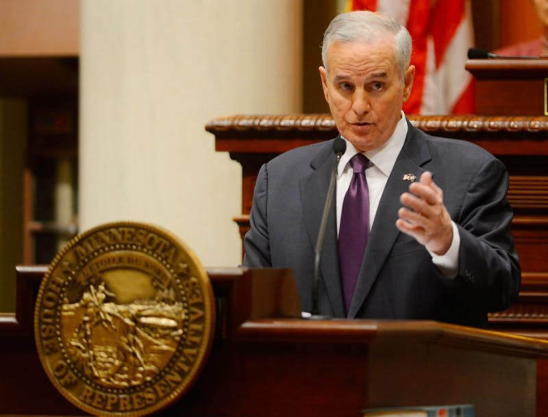 Governor Dayton gives his State of the State Address at the Capitol on Wednesday.