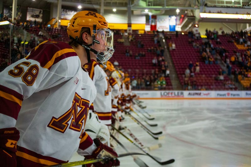 The Gophers line up in preparation for their game against Ohio State at 3M Arena at Mariucci on Friday, Jan. 24, 2020. The Gophers ended the night with a 6-3 victory over Ohio State.