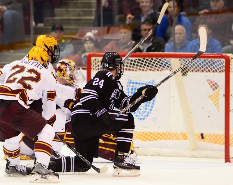 Mavericks forward Brett Knowles scores his third period goal to tie up and bring the game into overtime at Mariucci Arena on Saturday.