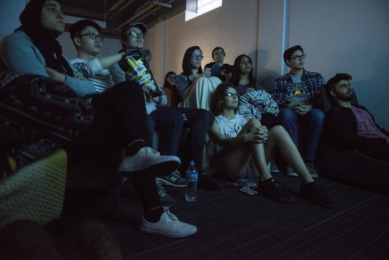 "Students watch the premiere of the first episode for the final season of ""Game of Thrones"" in Centennial Hall on Sunday, April 14."