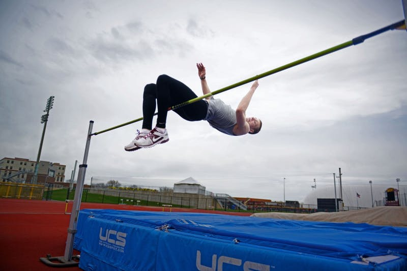 Minnesota high jumper Wally Ellenson practices at Bierman Athletic Field on Tuesday, April 30, 2013.
