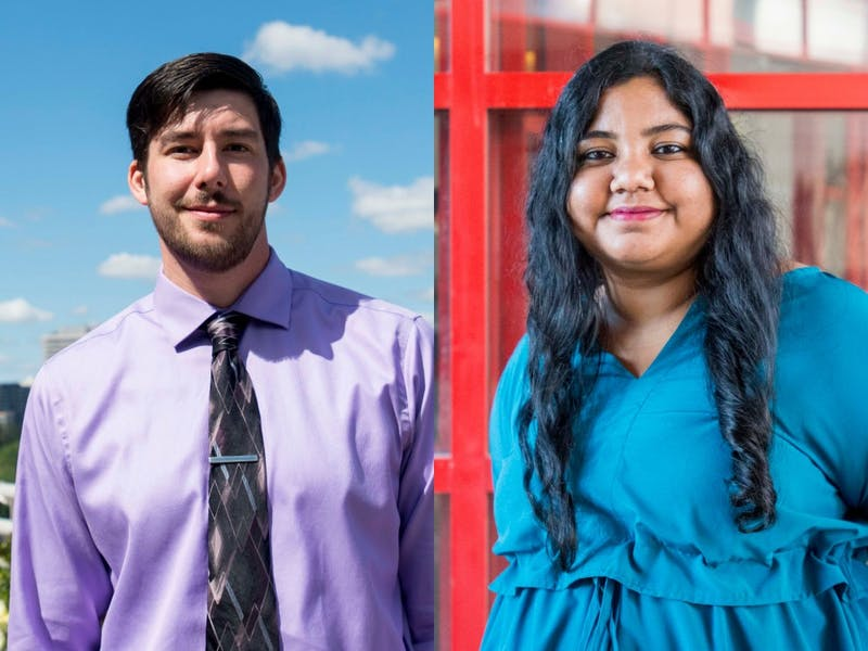 Josh Clancy, left, President of Professional Student Government, and Kriti Agarwal, right, President of the Council of Graduate Students pose for portraits on Wednesday, Sept. 4.
