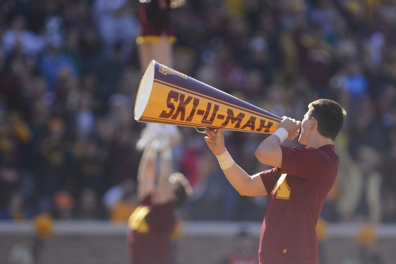 A member of the Golden Gopher Spirit Squad during the 2016 Homecoming gameat TCF Bank Stadiumon Saturday, Oct. 22, 2016.