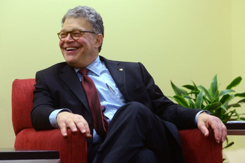 Senator Al Franken fields questions from the media on Friday, June 2 at the Ted Mann Theater on West Bank.
