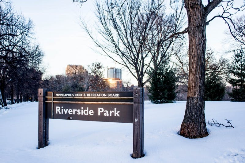 The sun sets on Riverside Park, Monday Feb. 26. Neighbors have opposed the Minneapolis Park and Recreation Board's decision to rename the park after one of the longest-serving board members, Annie Young, who passed away earlier this year.