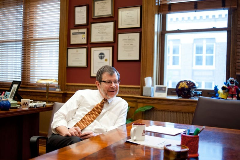 """University of Minnesota President Eric Kaler reflected on his first academic year on the job. """"It's been a hectic year, a very interesting year. But I'm pretty pleased with where we are."""""""