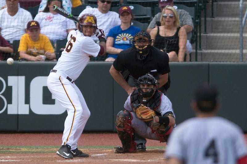 Redshirt Junior Jordan Smith prepares to hit a pitch pitch during the weekend series against Maryland at Siebert Field Sunday. Although losing the series to Maryland, Smith's single in bottom of the 8 brought in two runs and gave the gophers a lead in their 6-4 victory.