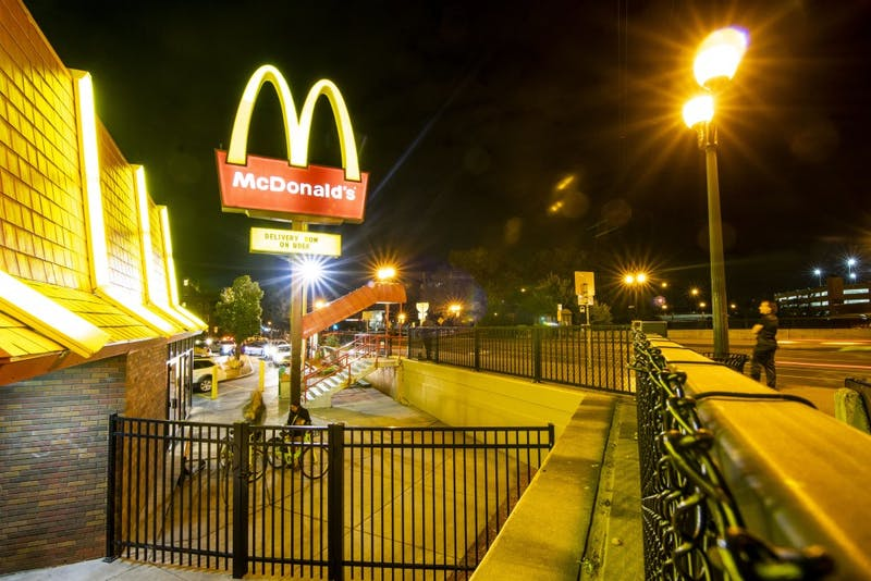 The McDonald's located on the corner of Fourth Street Southeast and 15th Avenue Southeast is seen on Saturday, Aug. 31. The proposed development would replace Mcdonald's as well as other popular businesses such as Dinkytown Wine and Spirits.