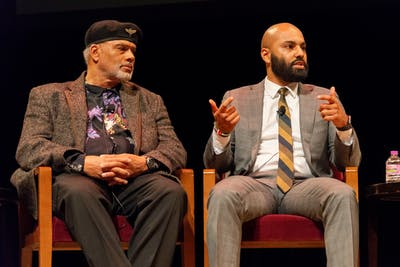 "Panelists John Wright, left, and Abdul Omari discuss the ""This Free North"" documentary at Northrop Auditorium on Tuesday, Feb. 18. The event included a documentary premiere and a discussion about black history at the University of Minnesota."