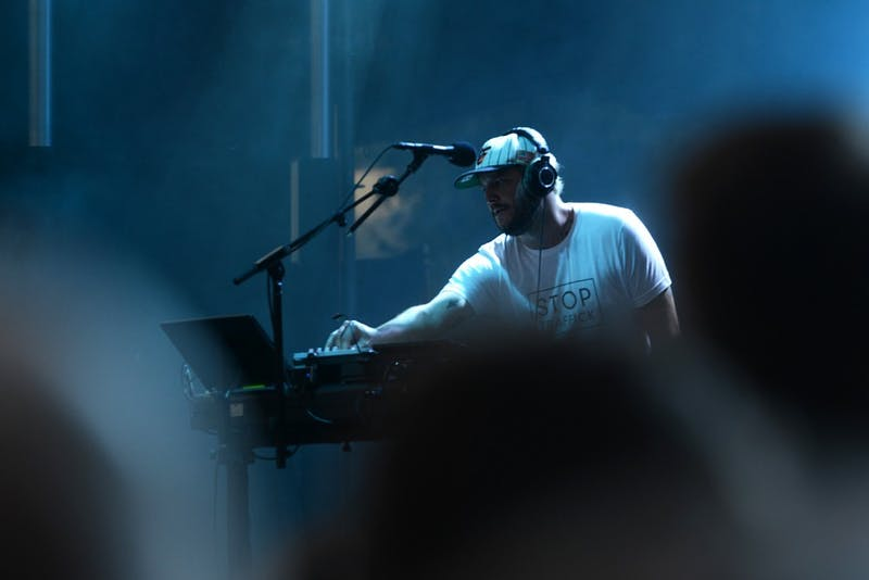 Headliner Justin Vernon of Bon Iver plays to a sold out crowd at Rock the Garden on July 22, 2017 at the Walker Art Center.