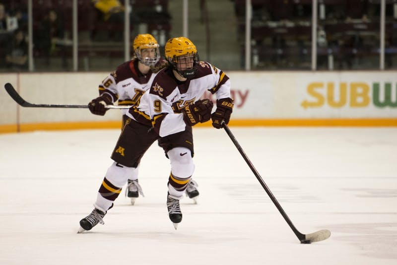 Freshman Taylor Heise handles the puck on Saturday, Oct. 13, 2018 at Ridder Arena in Minneapolis