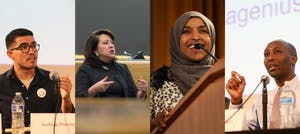 From left, Joshua Preston, Patricia Torres Ray, Ilhan Omar and Mohamud Noor.