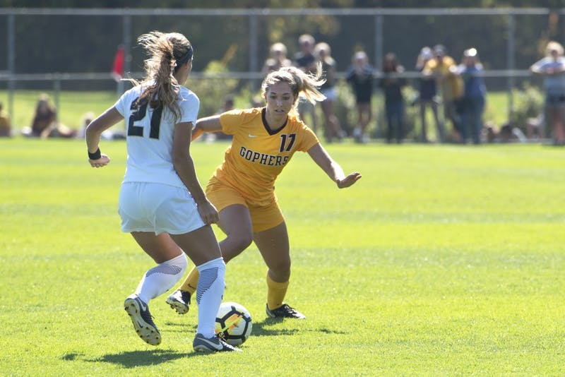Gophers midfielder Celina Nummerdor carries the ball during the Gophers' game against Purdue at Elizabeth Lyle Robbie Stadium on Sunday. The Gophers won 2-0.