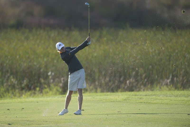 Junior Thomas Longbella plays during the Gopher Invitational on Sunday, Sept. 9 at Windsong Farm Golf Club in Maple Plain, Minnesota.