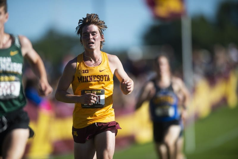 Redshirt Sophomore Hunter Lucas sprints for the finish line at the 2019 Roy Griak Invitational at the Les Bolstad Golf Course on Saturday, Sept. 28, 2019. The Gophers' men's team placed 7th in the Division 1 race.