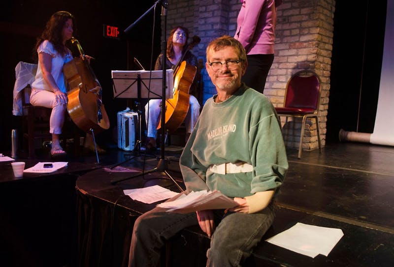 "Kevin Kling, writer of ""Humanimal,""  during rehearsal at Open Eye Figure Theater on Monday evening."