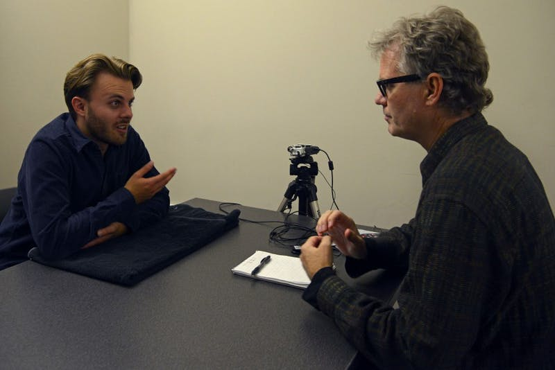 "Steve Stokowski interviews artist Michael Johnson for his podcast ""Artists @ A-Mill"" at the A-Mill Artist Lofts on Oct. 13, 2016."