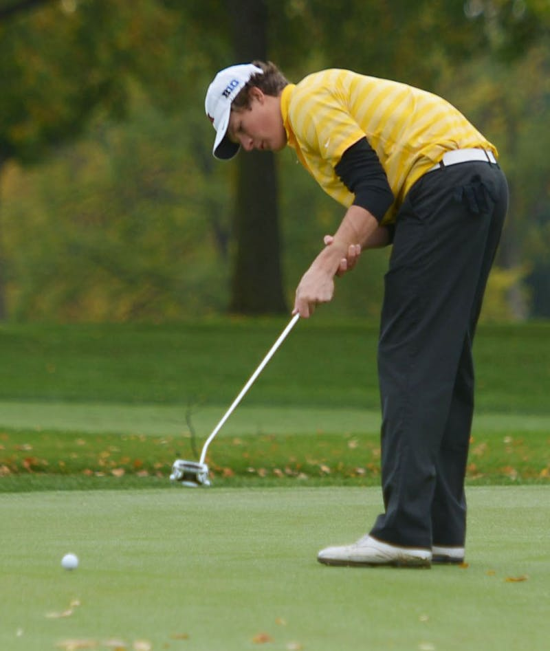 Minnesota's Alex Gaugert hits a drive down the fairway during the Alister Mackenzie Classic on Sunday, October 6, 2013 at Edina Country Club.