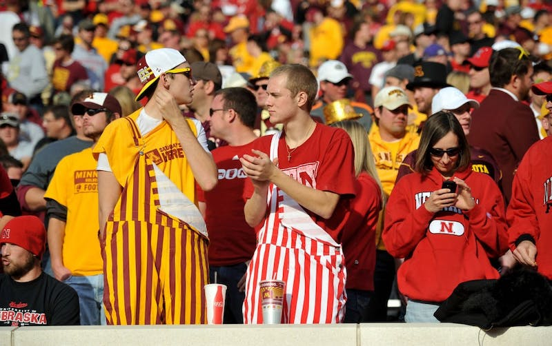 A mix of Minnesota and Nebraska fans at the homecoming game on Saturday, Oct. 22, 2011, at TCF Bank Stadium. Nebraska fans filled up around two-thirds of the seats.