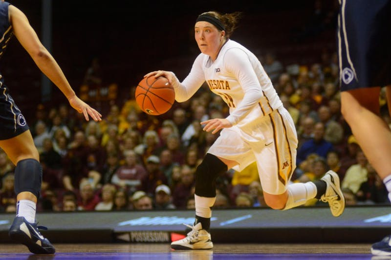 Junior guard Mikayla Bailey dribbles the ball against Penn State at Williams Arena on Jan. 28.