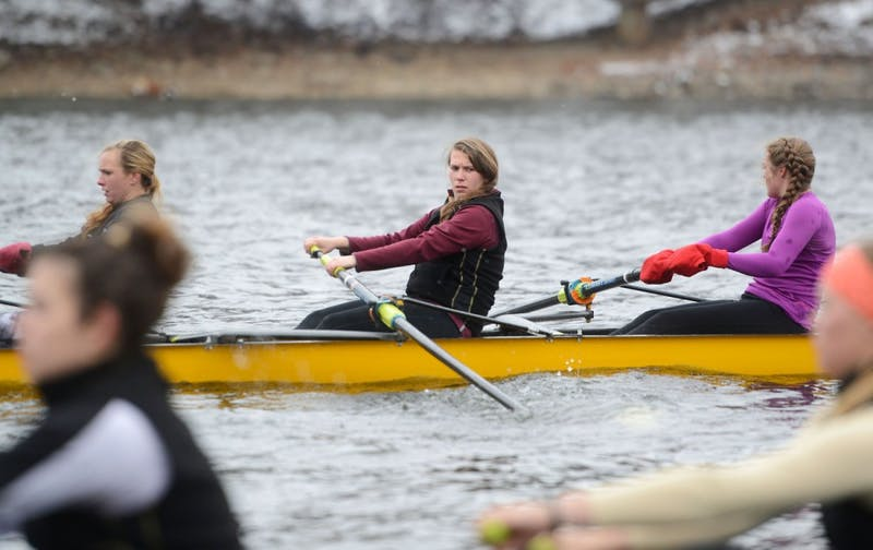 Senior Lynn Hodnett practices with the rowing team March 23, 2015, on the Mississippi River.